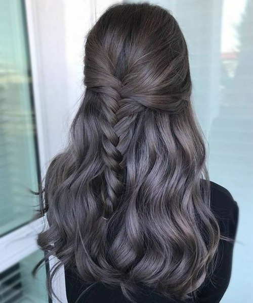 Fabelhafte Half Braided Dark Grey Layered Frisuren für langes, dickes Haar