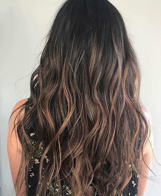 Dunkles Karamell Balayage Ombre Haar