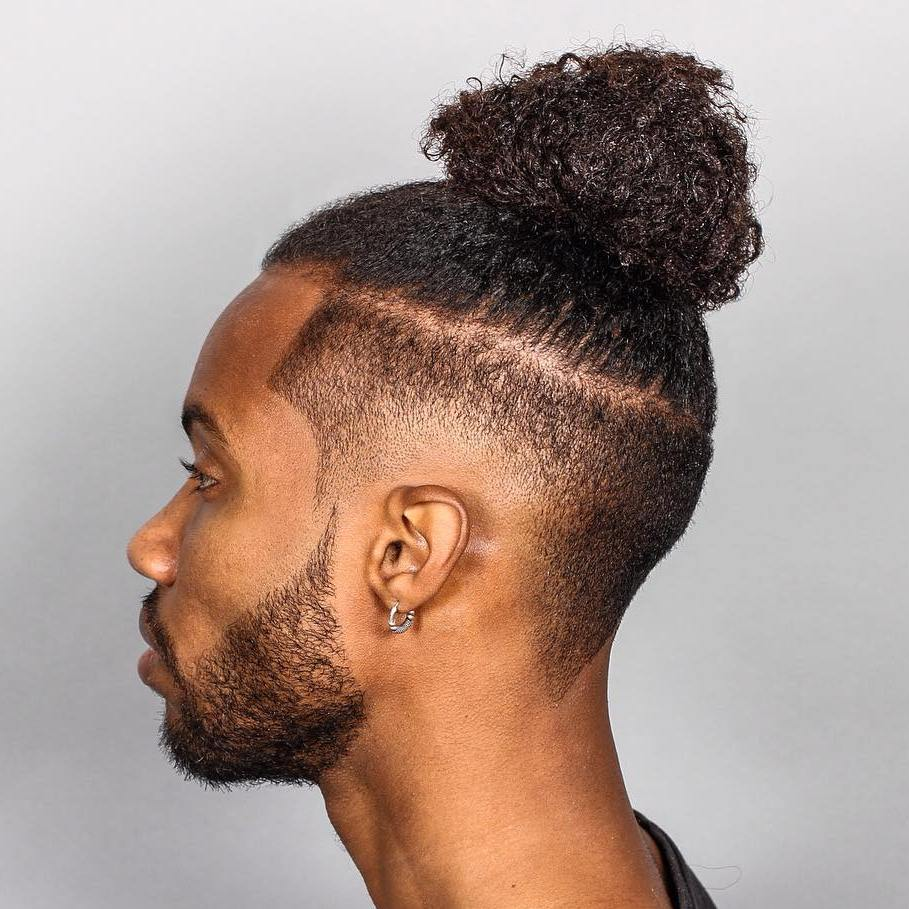 Black Men Bun Hairstyle