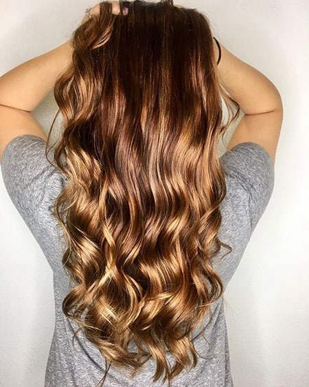 Balayage Waves Warmes Tone Smooth Ombre Long Guest Day Locken Kupfer