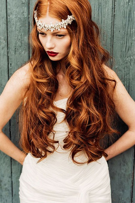 Red Wedding Lange Kleine Golden Curly Brown