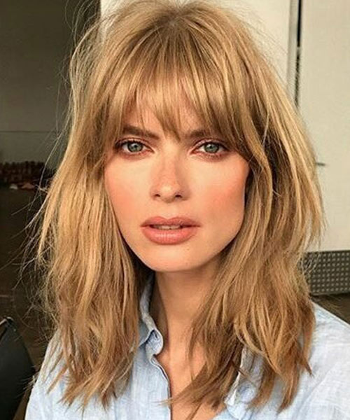 21. Choppy Bangs Long Bob