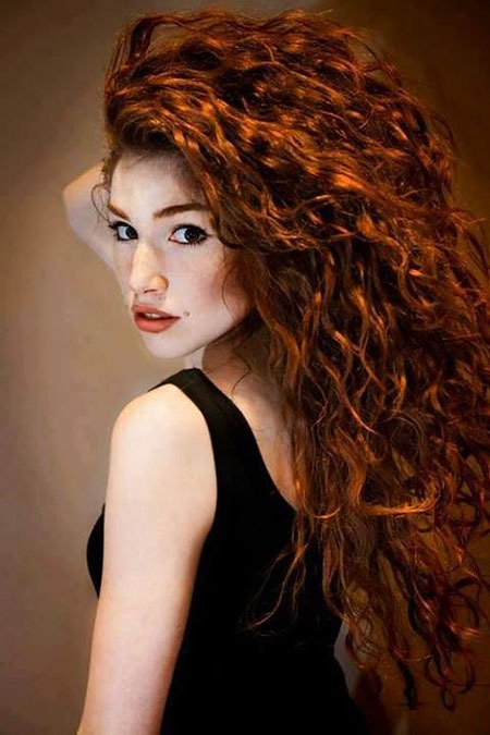 Curly Red Frauen Redheads Rötlich Long Curls Brown