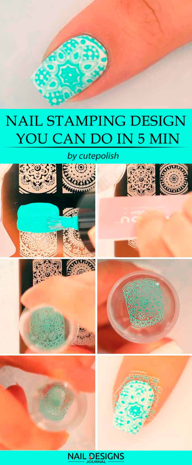 Einfaches Nail Stamping Design in 5 Min.
