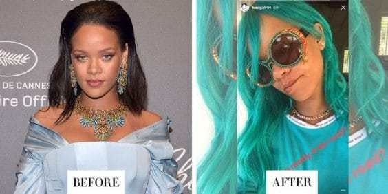 Rihanna's Teal Locks