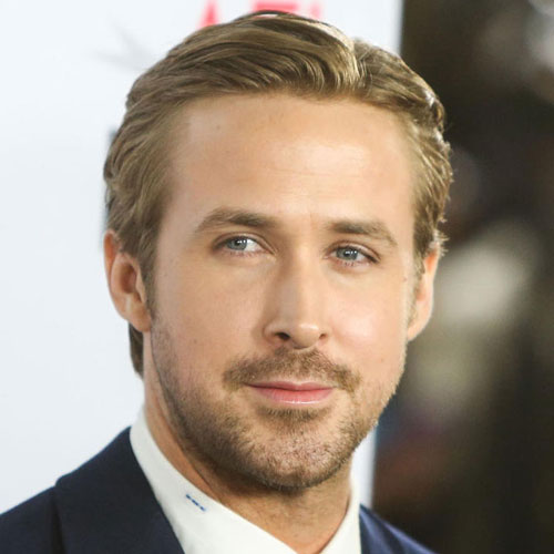 Ryan Gosling Hairstyle - Long Tapered Seiten + Parted Top