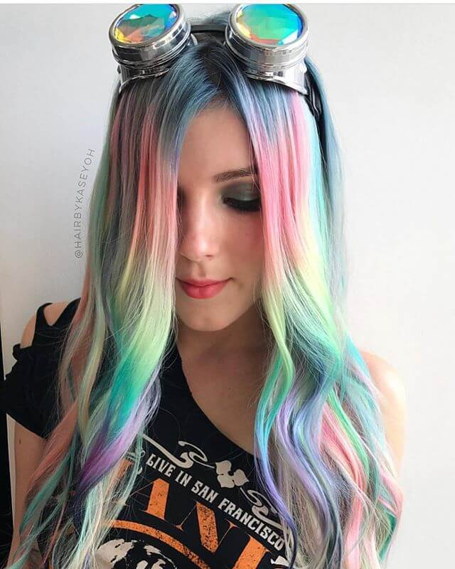 Pastell Rainbow Mermaid Haarfarbe
