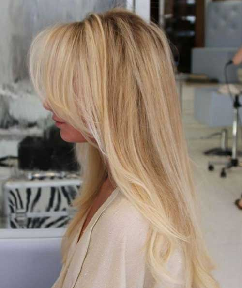 Beste lange blonde Frisur Side Swept Pony