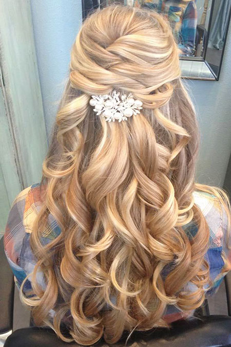 Wedding Prom Lange Up Halbe Down Curls