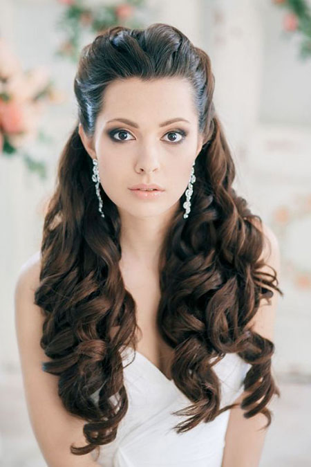Wedding Long Curly Lace halbe vordere Locken