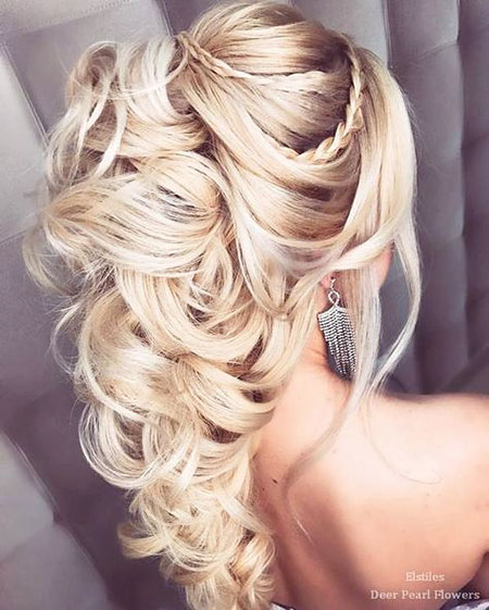Wedding Long Updo Bun Braut geflochten 40