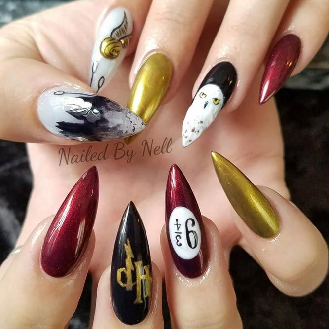Hexen und Zauberer Harry Potter Fan Art Nägel #stilettonails #longnails