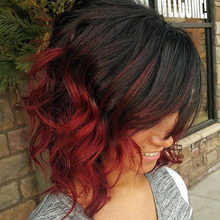 Red Balayage Ombre Farbe