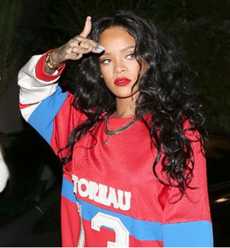 Rihanna Long Curly Black