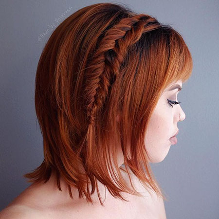 Red Layered Braids Bob