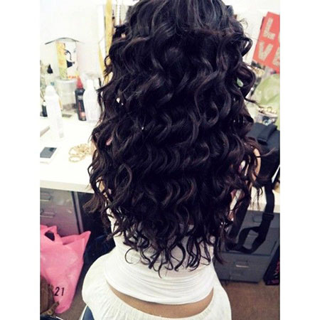 Prom Long Curly Curls Schwarz