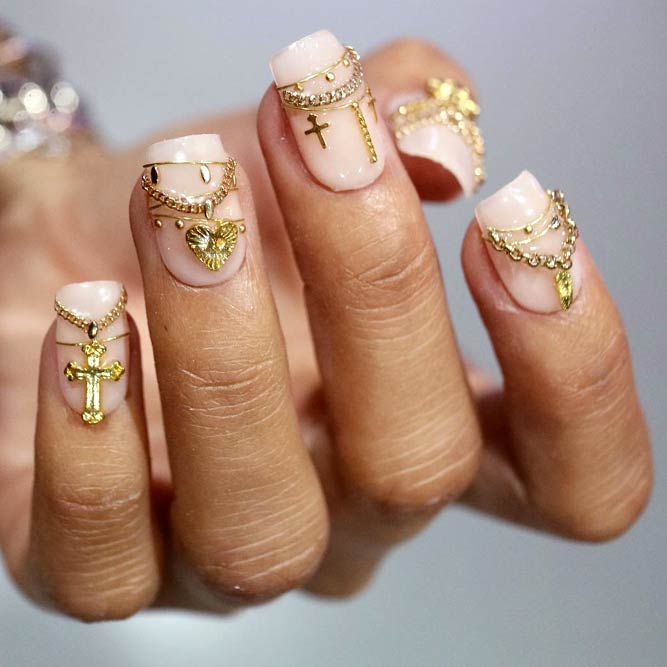 3D Metall Zubehör Art On All Nails #nailstrend #jewelrynails #goldnails