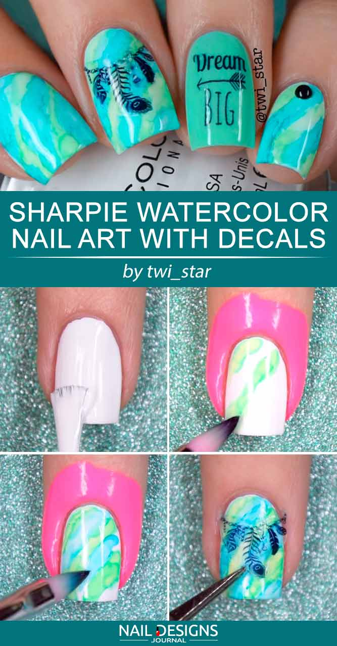 Charming Sharpie Watercolor Nail Kunst mit Decals #waterconnails #naildecals #bohonails #dreamcatchernails