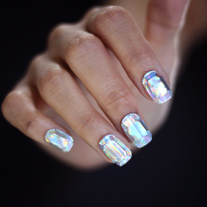Diamantnägel Korean Art Style #shortnails #sparkleynails #diamondnails