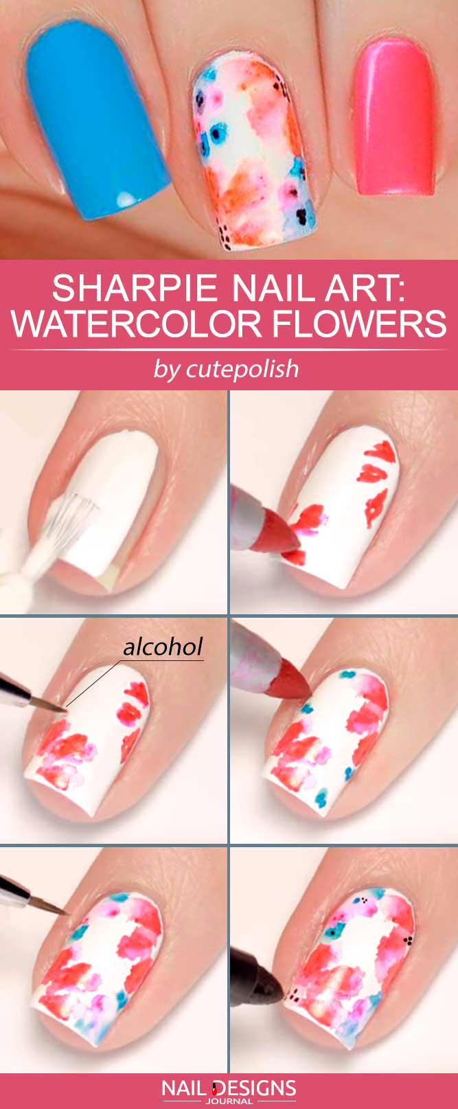Sharpie Nail Art Ideas Zarte Aquarellblumen #watercopyrightnails #blumennägel #floralnails