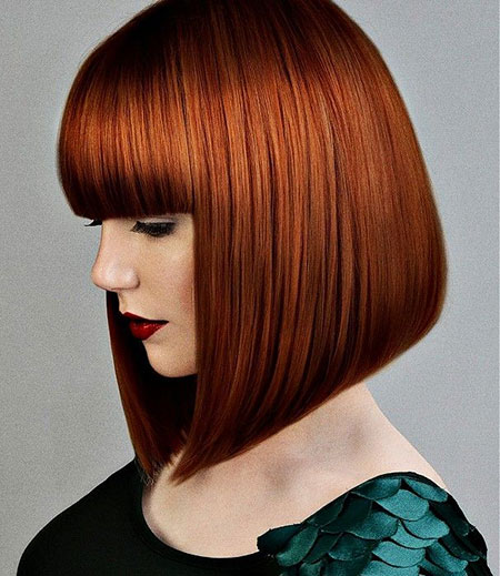 Red Bob Frau Medium Bangs Ashley