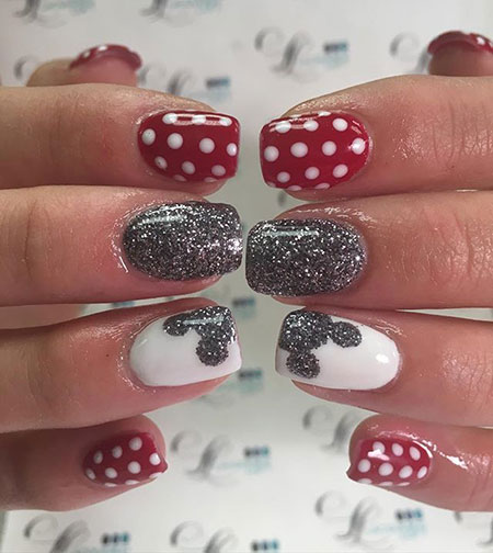Disney Nail Art Design, Disney Maus Minnie Love