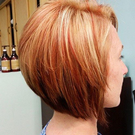 Bob Stacked Red Länge Highlights Chin One