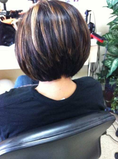 Layered Stacked Dark Bob Haarschnitt