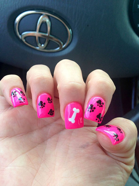 Niedlicher Nageldesign Hund, Tier Hund Rosa