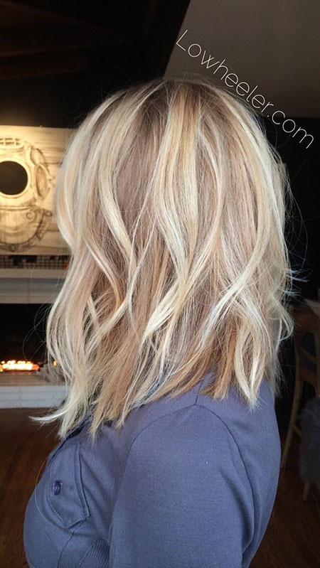 Blonde Balayage Long Highlights Welt Frauen Schulter