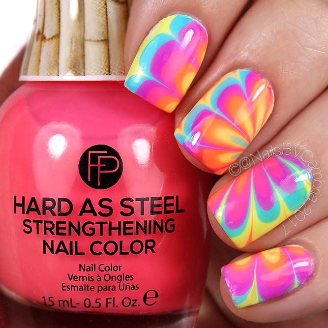 Wasser Marmor Rainbow Nails