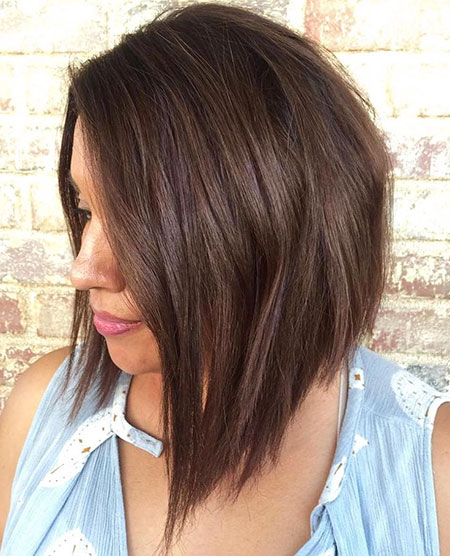 Bob Layered Brunette Length