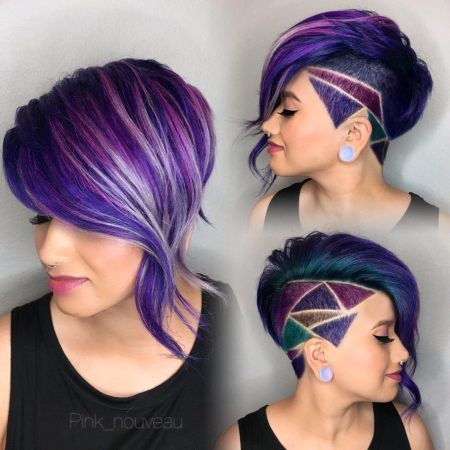 Geometric Purple Pixie Haircut